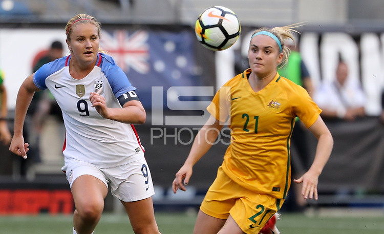 Seattle, WA - Thursday July 27, 2017: Lindsey Horan, Ellie Carpenter during a 2017 Tournament of Nations match between the women's national teams of the United States (USA) and Australia (AUS) at CenturyLink Field.