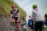 Davide Formolo (ITA/UAE-Emirates) happy with the cheers in the final kilometers up the final climb of the day; the Col du Portet (HC/2215m)<br /> <br /> Stage 17 from Muret to Saint-Lary-Soulan (Col du Portet)(178km)<br /> 108th Tour de France 2021 (2.UWT)<br /> <br /> ©kramon