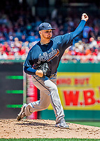 9 July 2017: Atlanta Braves top prospect starting pitcher Sean Newcomb on the mound against the Washington Nationals at Nationals Park in Washington, DC. The Nationals defeated the Braves to split their 4-game series. Mandatory Credit: Ed Wolfstein Photo *** RAW (NEF) Image File Available ***