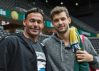 09-02-14, Netherlands,Rotterdam,Ahoy, ABNAMROWTT,  Dimitrov(BUL) with his coach Roger Rasheed<br /> Photo:Tennisimages/Henk Koster