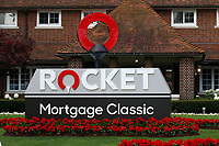 3rd July 2021, Detroit, MI, USA;  A general view of tournament signage in front of the Detroit Golf Clubhouse on July 3, 2021 during the Rocket Mortgage Classic at the Detroit Golf Club in Detroit, Michigan.