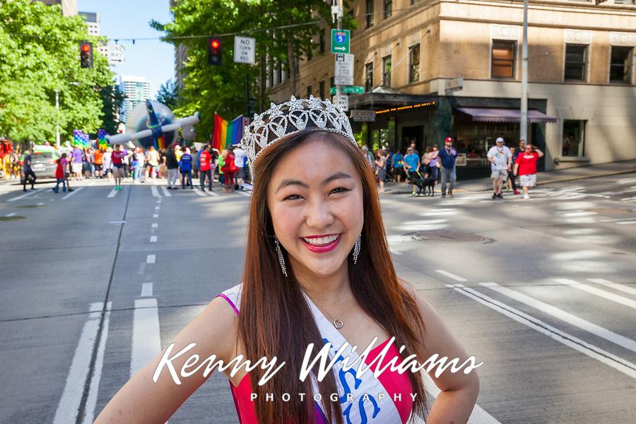 Miss Seafair Nella Kwan, Seattle Pride Parade 2016, Washington, USA.