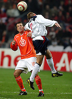 Rafael van der Vaart, left, Clint Mathis, right, Holland's National Team vs USA national Team at ArenA in Amsterdam where Ajax plays.