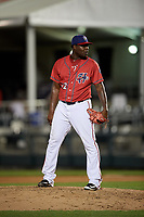 Harrisburg Senators relief pitcher Roman Mendez (32) looks in for the sign during a game against the Akron RubberDucks on August 18, 2018 at FNB Field in Harrisburg, Pennsylvania.  Akron defeated Harrisburg 5-1.  (Mike Janes/Four Seam Images)
