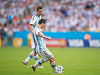 Lionel Messi of Argentina scores a goal to make it 2-1