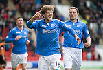St Johnstone v Dundee United...09.05.15   SPFL<br /> Murray Davidson celebrates his goal<br /> Picture by Graeme Hart.<br /> Copyright Perthshire Picture Agency<br /> Tel: 01738 623350  Mobile: 07990 594431