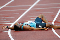 Golden Gala di atletica leggera allo stadio Olimpico di Roma, 6 giugno 2013.<br /> Johnny Dutch, of the United States, lies on the racetrack after winning the men's 400 meters hurdles at the Golden Gala IAAF athletics meeting at Rome's Olympic stadium, 6 June 2013.<br /> UPDATE IMAGES PRESS/Riccardo De Luca