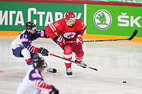 22nd May 2021, Riga Olympic Sports Centre Latvia; 2021 IIHF Ice hockey, Eishockey World Championship, Great Britain versus Russia;  Nikita Zadorov Russia fights with 14 Liam Kirk Great Britain for the puck