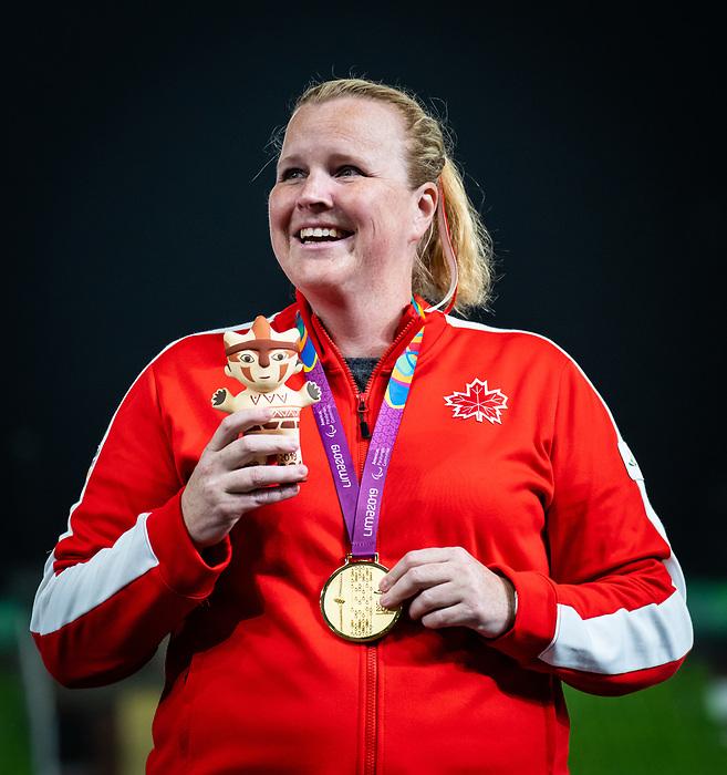 Jennifer Brown, Lima 2019 - Para Athletics // Para-athlétisme.<br /> Jennifer Brown takes the gold medal in the women's discus F38 // Jennifer Brown remporte la médaille d'or en discus féminin F38. 27/08/2019.
