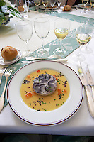 "Round timbal with pikeperch fish covered with ""scales"" of blue coloured potatoes in thin slices served with a beurre blanc butter sauce Chateau de Cerons (Cérons) Sauternes Gironde Aquitaine France"