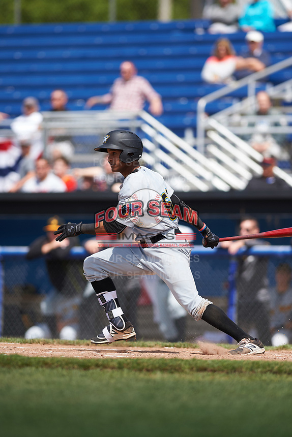 West Virginia Black Bears center fielder Michael De La Cruz (62) at bat during a game against the Batavia Muckdogs on June 25, 2017 at Dwyer Stadium in Batavia, New York.  West Virginia defeated Batavia 6-4 in the completion of the game started on June 24th.  (Mike Janes/Four Seam Images)