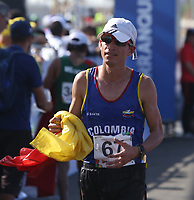 BARRANQUILLA - COLOMBIA, 03-08-2018: SUAREZ BOCANEGRA Jeisson Alexander (Colombia) ganador de la medalla de oro en su participación en maratón masculina como parte de los Juegos Centroamericanos y del Caribe Barranquilla 2018. /  SUAREZ BOCANEGRA Jeisson Alexander (Colombia) winner of the gold medal in his participation in men's marathon of the Central American and Caribbean Sports Games Barranquilla 2018. Photo: VizzorImage /  Cont