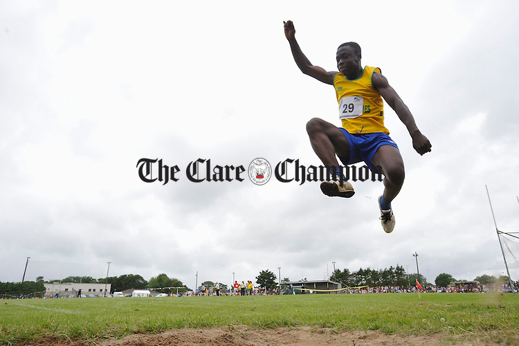 Nicolas Tumasi who won the long jump cmpetition at the Clare Community Games Athletics finals in Rosslevan. Photograph by John Kelly.