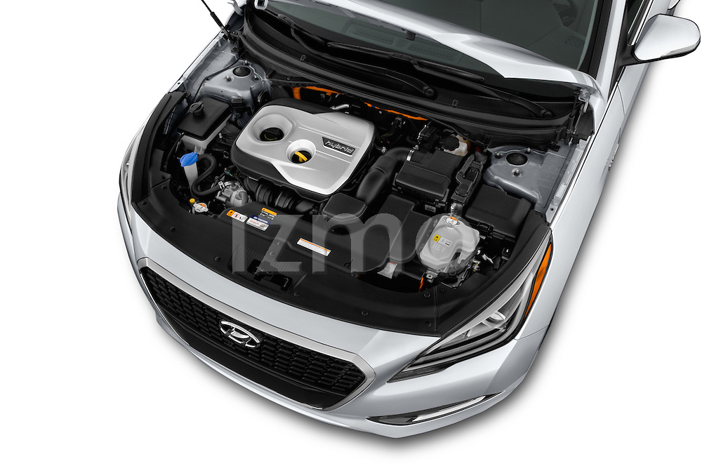 Car Stock 2016 Hyundai Sonata Hybrid SE 4 Door Sedan Engine high angle detail view