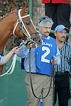 Trainer Steven Asmussen leads the #2 Tapiture before the running of the Southwest Stakes (Grade III) at Oaklawn Park in Hot Springs, Arkansas on February 17, 2014. (Credit Image: © Justin Manning/Eclipse/ZUMAPRESS.com)
