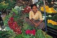 Asie/Birmanie/Myanmar/Haute Birmanie/Mandalay: Marché aux fleurs