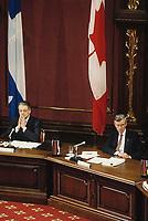 Quebec (Qc) CANADA - 1991 File photo  - - Michel Belanger (L) and Jean Campeau (R) during the Belanger - Campeau Commission at Quebec National Assembly red salon