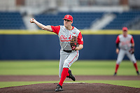 Ohio State Buckeyes pitcher Garrett Burhenn (7) delivers a pitch to the plate against the Michigan Wolverines on April 9, 2021 in NCAA baseball action at Ray Fisher Stadium in Ann Arbor, Michigan. Ohio State beat the Wolverines 7-4. (Andrew Woolley/Four Seam Images)