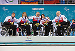 Sochi, RUSSIA - Mar 15 2014 - Mark Ideson, Sonja Gaudet, Dennis Thiessen,Ina Forrest and Jim Armstrong receive their gold medals after defeating Russia in the Gold Medal Wheechair Curling match at the 2014 Paralympic Winter Games in Sochi, Russia.  (Photo: Matthew Murnaghan/Canadian Paralympic Committee)