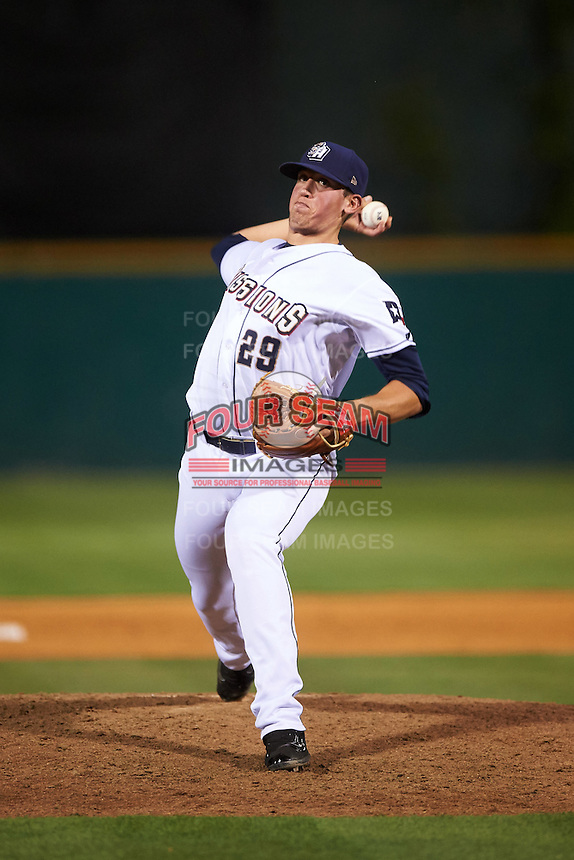 San Antonio Missions relief pitcher Kyle Lloyd (29) delivers a pitch during a game against the Midland RockHounds on April 22, 2016 at Nelson W. Wolff Municipal Stadium in San Antonio, Texas.  San Antonio defeated Midland 8-4.  (Mike Janes/Four Seam Images)