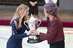 Queen Sofia of Spain gives award to Laura Sárosi during National Sport Awards 2016 at El Pardo Palace in Madrid , Spain. February 19, 2018. (ALTERPHOTOS/Borja B.Hojas)