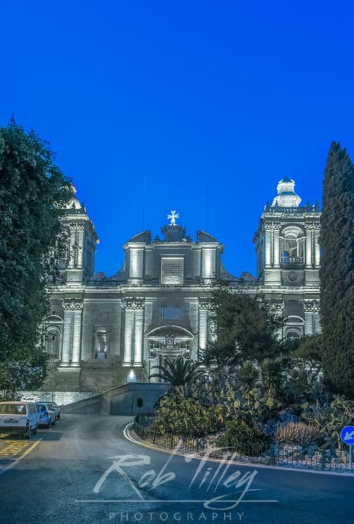 Europe, Malta, Birgu, St. Lawrence Church at Dawn