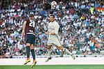 Real Madrid's player Cristiano Ronaldo and Eibar FC's player Florian Lejeune during a match of La Liga Santander at Santiago Bernabeu Stadium in Madrid. October 02, Spain. 2016. (ALTERPHOTOS/BorjaB.Hojas)