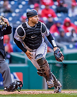 15 April 2018: Colorado Rockies catcher Chris Iannetta in action against the Washington Nationals at Nationals Park in Washington, DC. All MLB players wore Number 42 to commemorate the life of Jackie Robinson and to celebrate Black Heritage Day in pro baseball. The Rockies edged out the Nationals 6-5 to take the final game of their 4-game series. Mandatory Credit: Ed Wolfstein Photo *** RAW (NEF) Image File Available ***