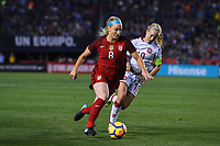 San Diego, CA - Sunday January 21, 2018: Julie Ertz, Pernille Harder during an international friendly between the women's national teams of the United States (USA) and Denmark (DEN) at SDCCU Stadium.
