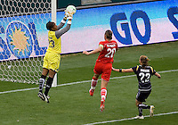 LA Sol's goalkeeper Karina LeBlanc saves a ball from Washington Freedom's Abby Wambach. The LA Sol defeated the Washington Freedom 2-0 in the opening game of Womens Professional Soccer at Home Depot Center stadium on Sunday March 29, 2009.  .Photo by Michael Janosz
