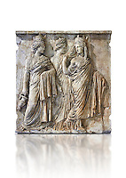 Relief sculpture called Les Trois Tyches, a Roman relief sculpture circa 160 AD found on the Appia Way, Rome, Italy. A Tyche was the deity of luck or fotune and brought prosperity to a city. She is the daughter of Aphrodite and Zeus or Hermes. From the Borghese Collection  Inv MR 873   (or Ma 590), The Louvre Mueum, Paris
