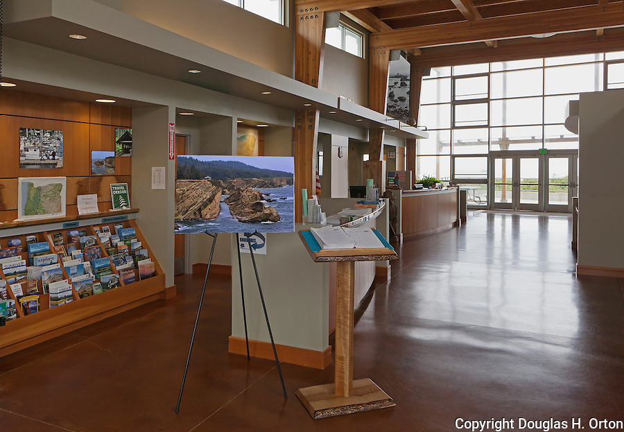 Oregon Visitor Center, Crissey Field State Recreation Area, South Oregon Coast one mile north of the California border where the Winchuck River meets the Pacific Ocean near Winchuck River State Park.  Crissey Field State Recreation Area offers beach access, sandy beaches, river estuary, fishing, an Travel Oregon information office and hiking trails.