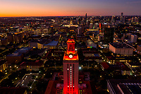 "The UT tower orange, the traditional signal of victory on the campus with a national championship, office lights are also left selectively lit in order to form a number ""1"" on all four sides of the tower."
