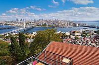Panoramic view of Golden Horn, Metro and Galata bridge, Istanbul, Turkey
