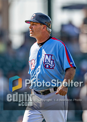 23 June 2019: New Hampshire Fisher Cats Manager Mike Mordecai working as third base coach during a game against the Trenton Thunder at Northeast Delta Dental Stadium in Manchester, NH. The Thunder defeated the Fisher Cats 5-2 in Eastern League play. Mandatory Credit: Ed Wolfstein Photo *** RAW (NEF) Image File Available ***