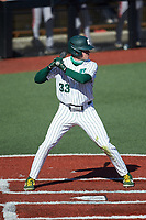 Jake Cunningham (33) of the Charlotte 49ers at bat against the Florida Atlantic Owls at Hayes Stadium on April 2, 2021 in Charlotte, North Carolina. The 49ers defeated the Owls 9-5. (Brian Westerholt/Four Seam Images)