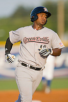 Jhonny Medrano #40 of the Greeneville Astros rounds the bases after hitting a home run against the Burlington Royals at Burlington Athletic Stadium June22, 2010, in Burlington, North Carolina.  Photo by Brian Westerholt / Four Seam Images