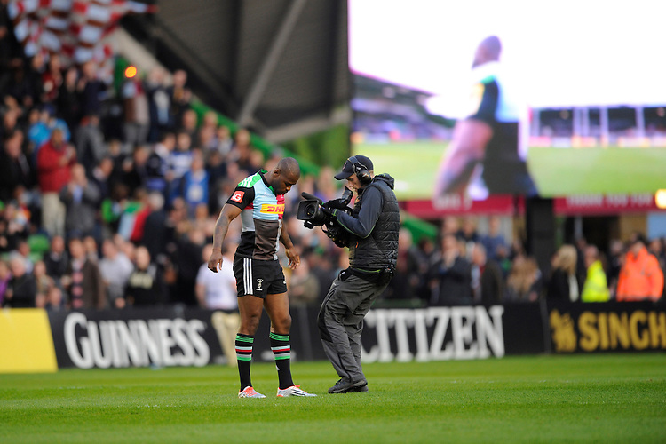 Ugo Monye of Harlequins appears for his final game of his career at The Twickenham Stoop