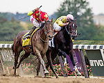 ELMONT, NY - OCTOBER 08: Yellow Agate #4, ridden by Manuel Franco, outduels Libby's Tail #2, ridden by Irad Ortiz, to win the Frizette Stakes on Jockey Club Gold Cup Day at Belmont Park on October 8, 2016 in Elmont, New York. (Photo by Doug DeFelice/Eclipse Sportswire/Getty Images)