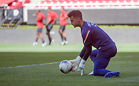 ZAPOPAN, MEXICO - MARCH 21: JT Marcinkowski #1 of the United States warming up before a game between Dominican Republic and USMNT U-23 at Estadio Akron on March 21, 2021 in Zapopan, Mexico.