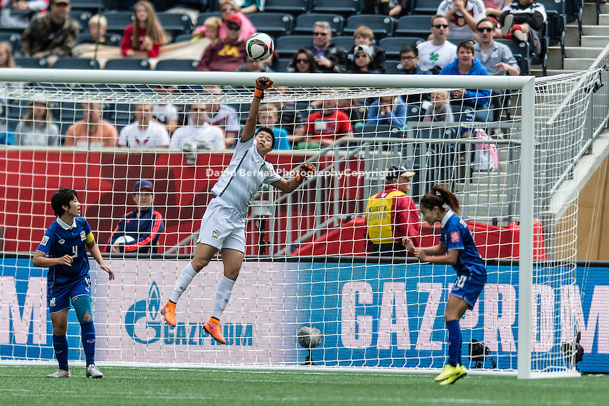 WINNIPEG, MANITOBA, CANADA - June 15, 2015: The Woman's World Cup Thailand vs Germany match at the Winnipeg Stadium . Final score, Thailand 0, Germany 0.