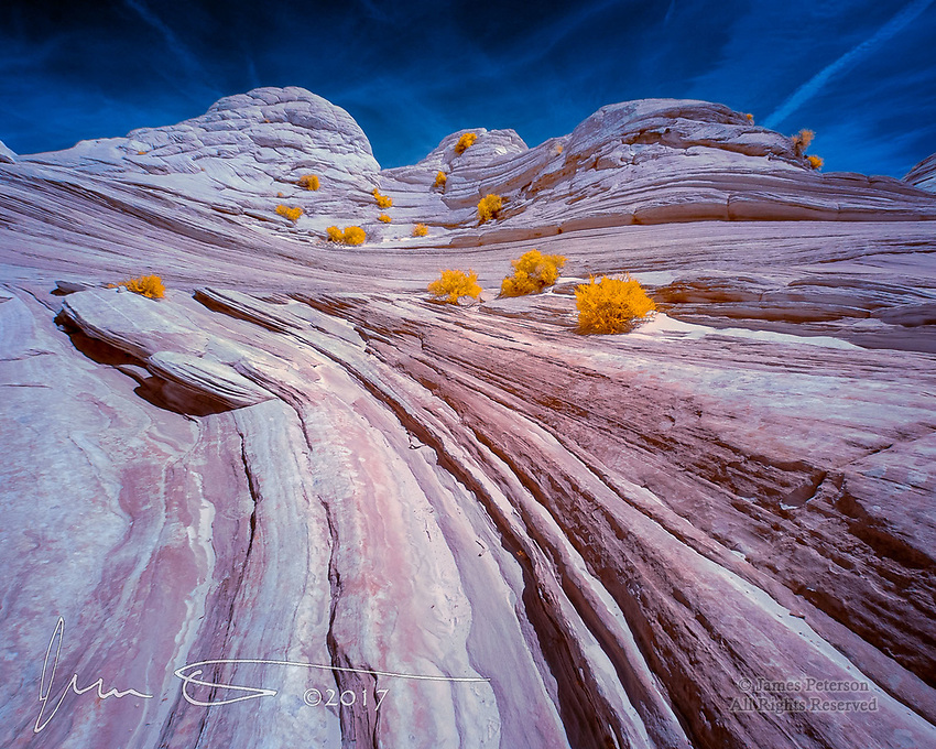Convergence: Flowing Sandstone at The Wave (Infrared) ©2017 James D Peterson.  The Paria Canyon-Vermilion Cliffs Wilderness area of Arizona's Vermilion Cliffs National Monument is replete with graceful and otherworldly formations.  This view is near the top of the area known as The Wave.