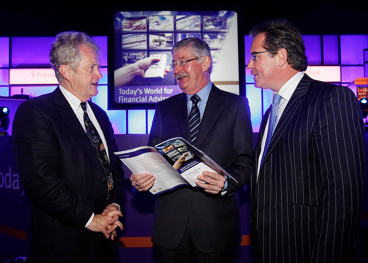 """John Bowman, Chair of the Conference (left) with Adrain Hegarty, Group Chief Executive and Eunan O'Carroll, Sales and Marketing Director of Friends First (right), pictured here at the Friends First Conference entitled """"Today's World for Financial  Advisors"""" held in the RDS, Dublin. Pic. Robbie Reynolds"""