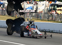 Aug. 2, 2014; Kent, WA, USA; NHRA top fuel dragster driver Terry McMillen during qualifying for the Northwest Nationals at Pacific Raceways. Mandatory Credit: Mark J. Rebilas-