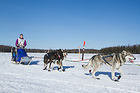 Kaye Berg on Long lake heads towards the finish of the Jr. Iditarod   Willow, Alaska