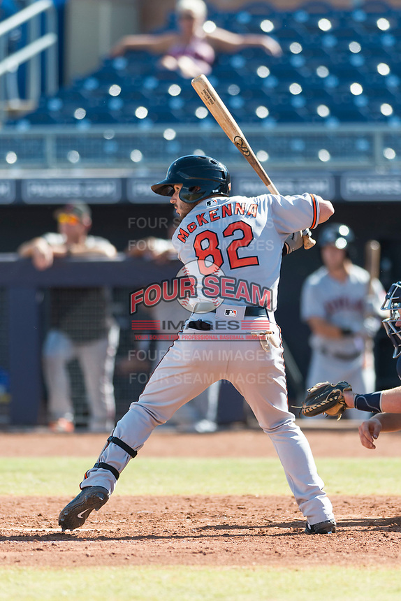 Glendale Desert Dogs center fielder Ryan McKenna (82), of the Baltimore Orioles organization, at bat during an Arizona Fall League game against the Peoria Javelinas at Peoria Sports Complex on October 22, 2018 in Peoria, Arizona. Glendale defeated Peoria 6-2. (Zachary Lucy/Four Seam Images)