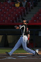Preston Beck (5) of the High Desert Mavericks bats during a game against the Inland Empire 66ers at Mavericks Stadium on May 6, 2015 in Adelanto, California. Inland Empire defeated High Desert, 10-4. (Larry Goren/Four Seam Images)