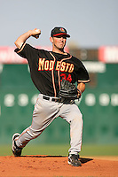 August 24 2008: Simon Ferrer of the Modesto Nuts pitches against the Lancaster JetHawks at Clear Channel Stadium in Lancaster,CA.  Photo by Larry Goren/Four Seam Images