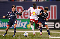 New York Red Bulls forward (17) Josmer Altidore gets fouled by New England Revolution defender (15) Michael Parkhurst, earning a yellow card. The New York Red Bulls and the New England Revolution played to a 0-0 tie during first leg of the MLS Eastern Conference Semifinal Series at Giants Stadium in East Rutherford, NJ, on October 27, 2007.