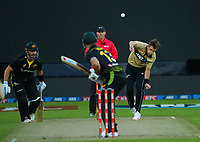 NZ's Tim Southee bowls to Matthew Wade during the third international men's T20 cricket match between the New Zealand Black Capss and Australia at Sky Stadium in Wellington, New Zealand on Wednesday, 3 March 2021. Photo: Dave Lintott / lintottphoto.co.nz
